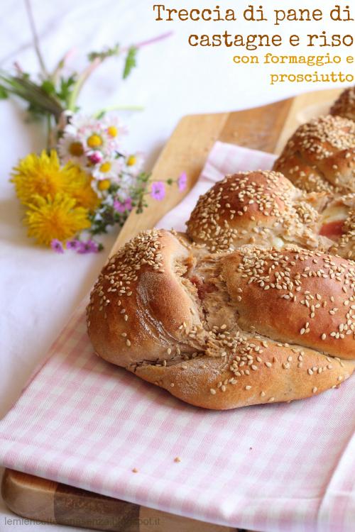 Treccia di pane ripiena di formaggio e prosciutto