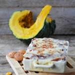Lasagne al cacao con zucca, mostarda di mele e amaretti