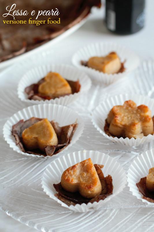 Lesso e pearà in versione finger food con vinaigrette all'aceto balsamico