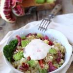 Insalatina di quinoa con broccolo romanesco e radicchio trevigiano con fonduta di toma al peperoncino