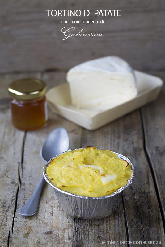 Tortino di patate con cuore fondente al Galaverna su letto di cavolo nero al miele