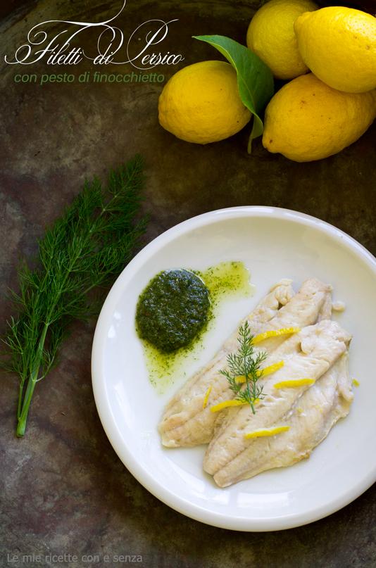 Filetti di persico del Garda al limone con pesto di finocchietto selvatico
