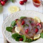 Carpaccio di pesce spada affumicato con citronette alle ciliegie