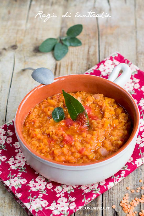 Ragù vegan di lenticchie rosse