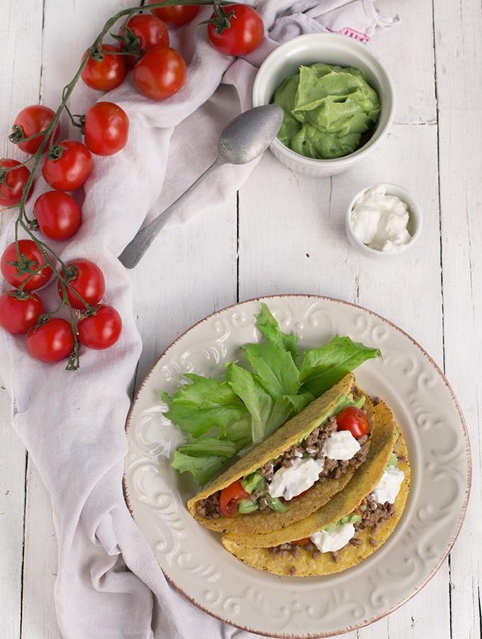 tacos con carne e panna acida