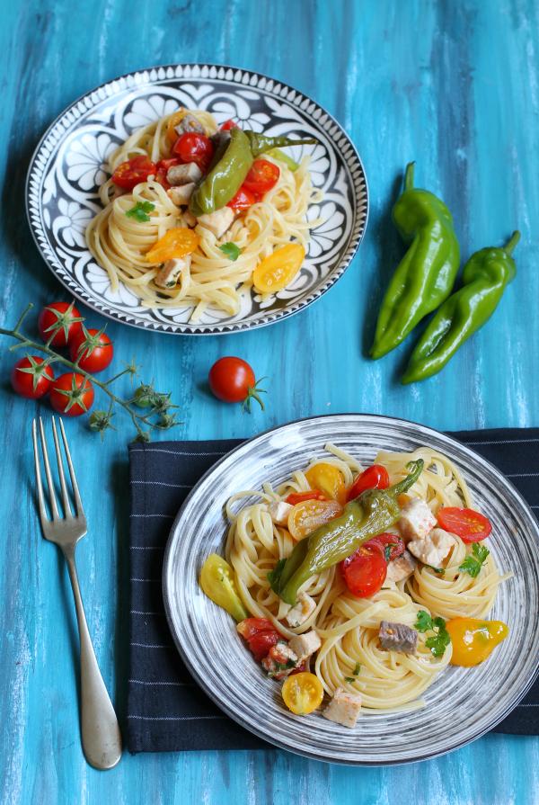 linguine con pomodorini e friggitelli