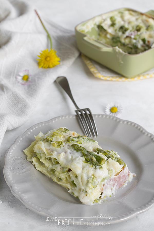 Lasagne agli asparagi con prosciutto cotto